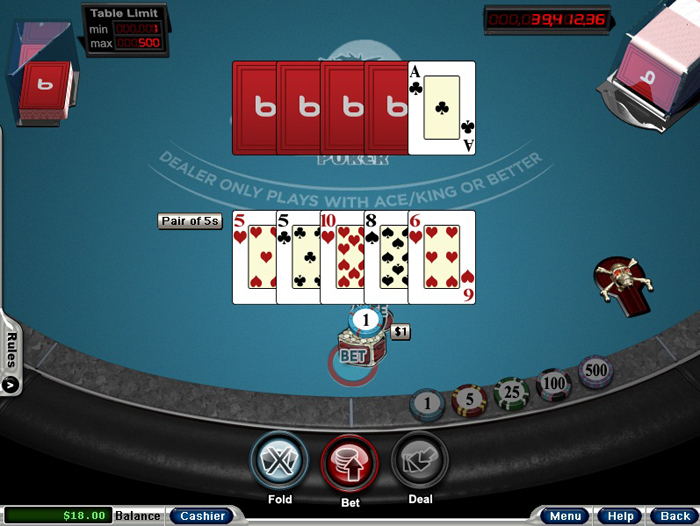 Bodog 3 card poker practice
